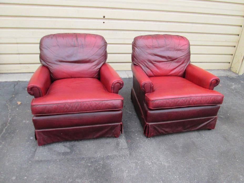 00001 PAIR  PENDRAGON Red Leather Armchair Chairs Chair s