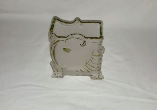 ANTIQUE FROSTED SATIN GLASS FOOTED PLAYING CARD HOLDER BOX BUSINESS TRINKET