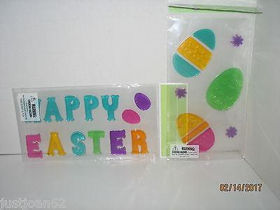 2 Packs Gel Window Glass Door Clings Spring Easter Banner Letters Eggs Decor