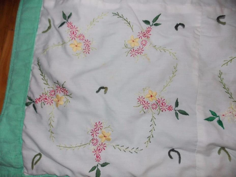 Hand Embroidered Quilt Floral Hand Tie Handmade