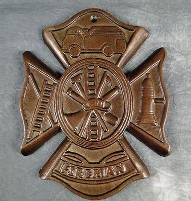 Firefighter Fireman Iron Maltese Wall Cross Plaque New