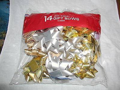 14 Berwick peel-n-stick Gift Bows 2 sizes new in bag gold & Silver made in USA