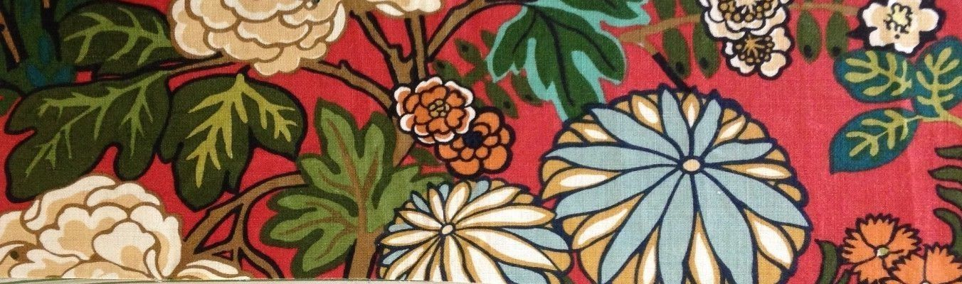 SCHUMACHER Chiang Mai Dragon Lacquer Dragon  Floral Printed Linen Remnant New