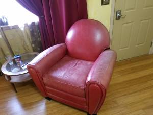 Red Leather Club Chair (Cheyenne)