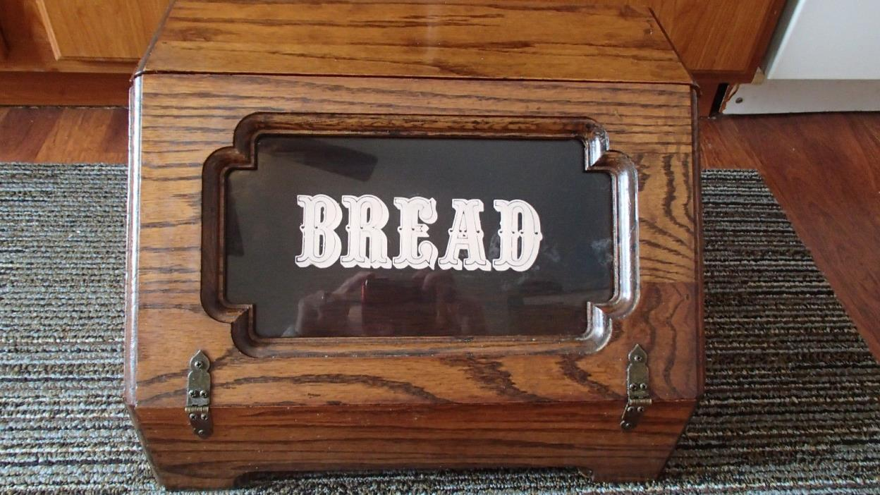 Vintage Wooden Old Style Bread Box with Country Kitchen Tempered BREAD Sign