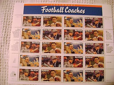 Legendary Football Coaches stamps, 20 stamps, 32 cent, 4 different coaches