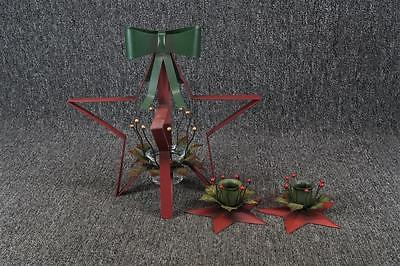Set Of 3 Metal Christmas Candle Holders