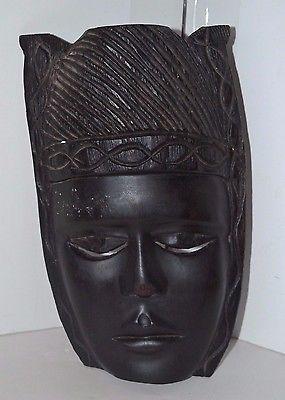 Carved Wood African Mask Black Tribal Wall