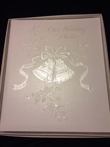 Hallmark Wedding Album Photo Scrapbook White Silver Embossed Bells