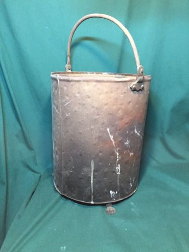 Vintage Tin Copper Ash Coal Bucket Claw Feet Handle Storage Stove