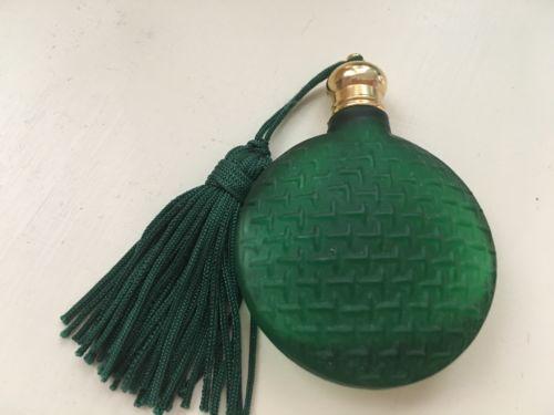 RARE Mini Antique Emerald Green Glass PERFUME BOTTLE Vial Flask 2-1/2