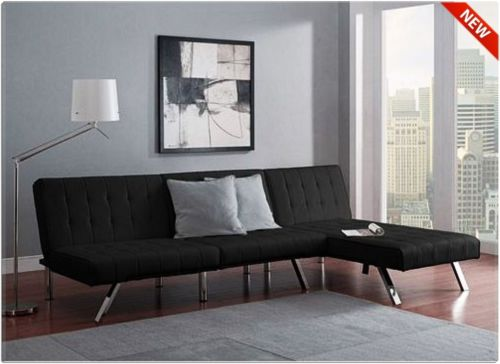 FUTON BED SLEEPER SOFA COUCH SECTIONAL CHAISE BLACK FURNITURE MODERN LOUNGE NEW