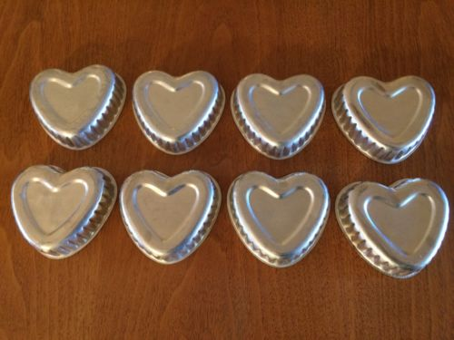 8 - Vintage Heart Shaped  Fluted Aluminum Jello Mold Tart  Mini Cake Pans