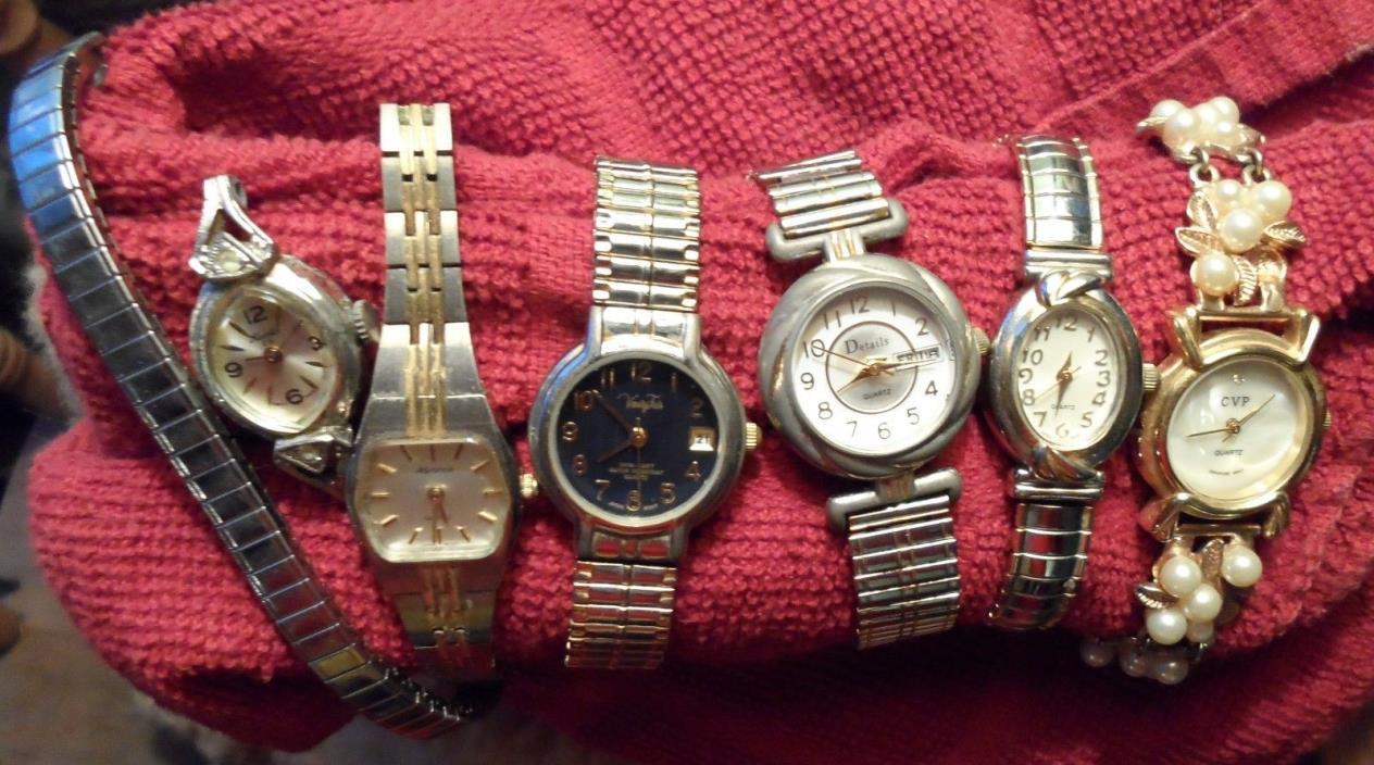 6 vtg lot ladies wrist watch quartz Hamlin Details Vanity Fair CVP Advance parts