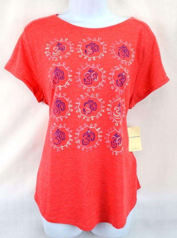 Lucky Brand Womens Red Cora Lucky 30 Sign Short Sleeve Top T-shirt Shirt M NWT