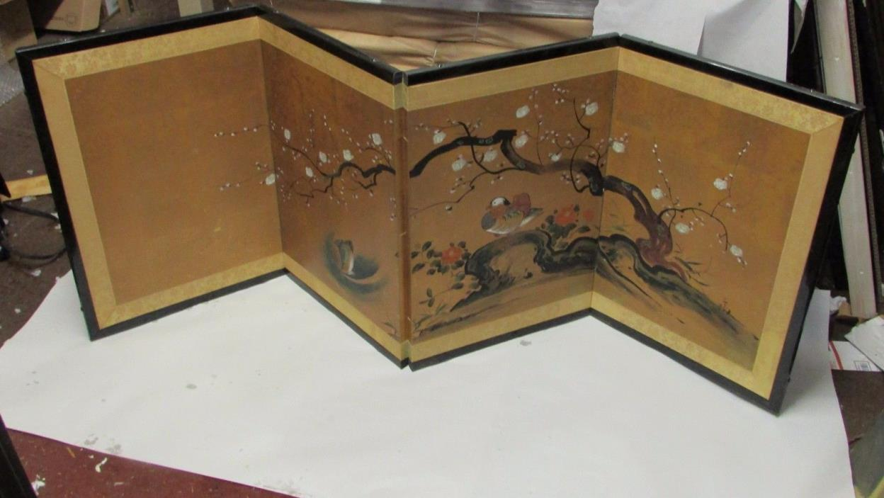 Antique japanese screens for sale - Small Antique Japanese Style Folding Screen Painting W Duck