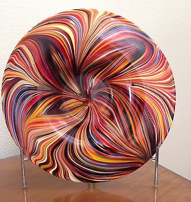 NIB Missoni for Target Multi-Color Hand-Blown Glass Platter Bowl Plate w/Stand