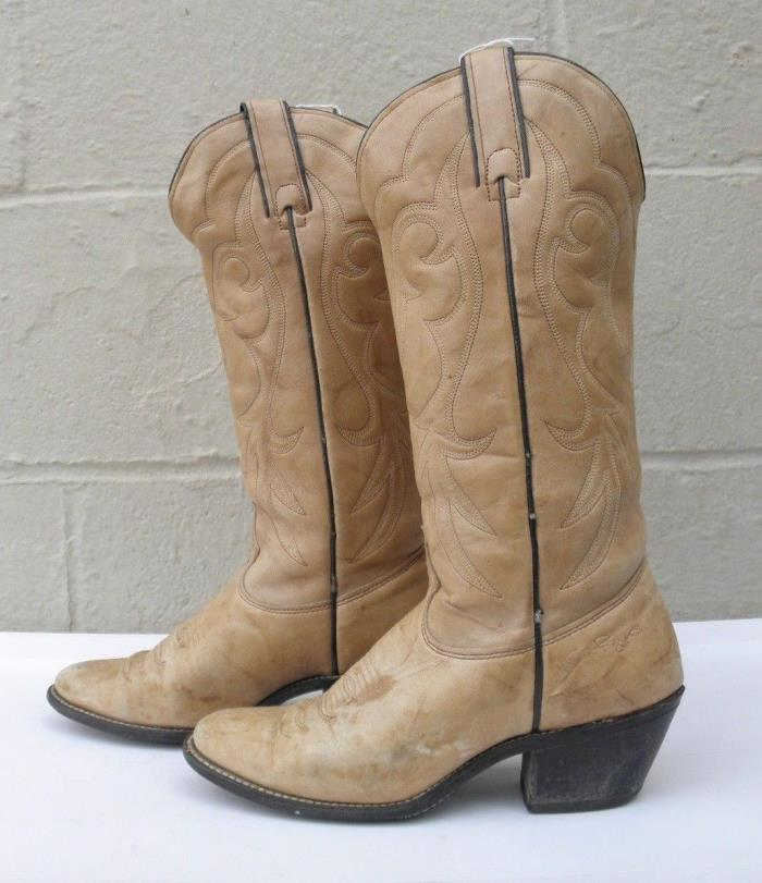 WOMENS VTG 80s KENNY ROGERS BROWN LEATHER COWBOY WESTERN HIGH HEELS BOOTS 6 M