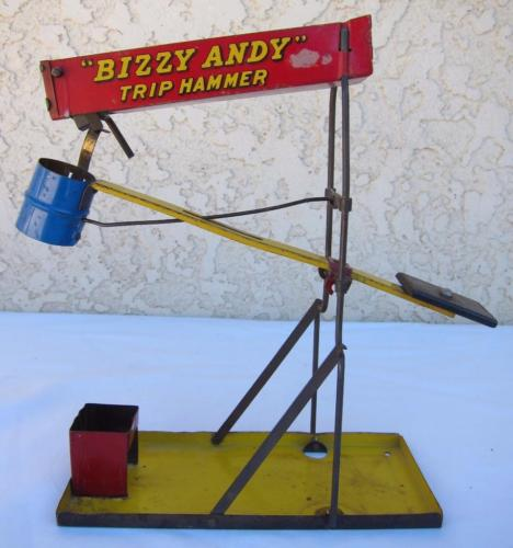 Antique 1918 Wolverine Tin Toy Bizzy Andy Trip Hammer l
