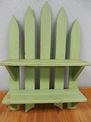 Shabby Chic Country Cottage Picket Fence Wall Shelf  #