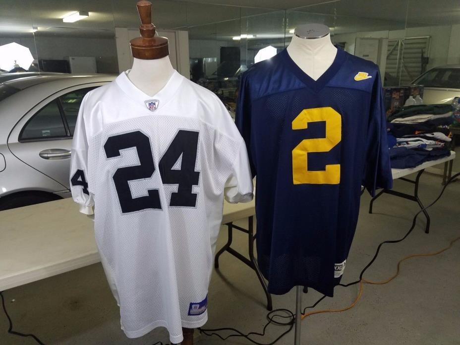 LOOK!  2-Lot NFL Reebok Authentic Oakland Raiders Charles Woodson Jersey Sz. 56