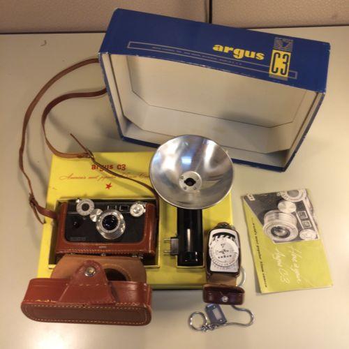argus C3 camera kit, flash, light meter, original box