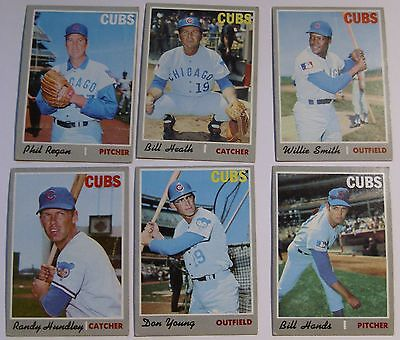 Lot of  6   1970  Topps Chicago Cubs Baseball Cards