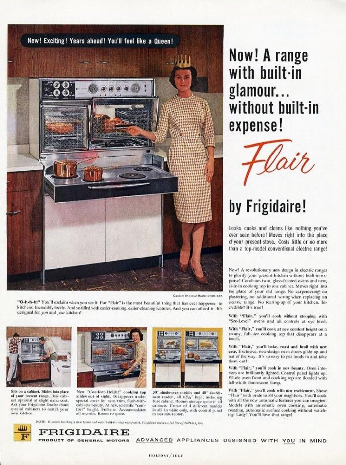 FLAIR by FRIGIDAIRE Oven Stove Range Ad 1960 Mid Century Modern & Woman