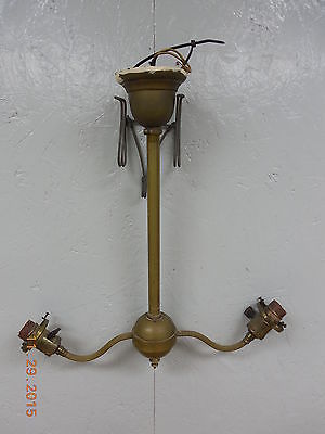 Old Antique Solid Brass Angle Lamp 2 Arms Electrified Light