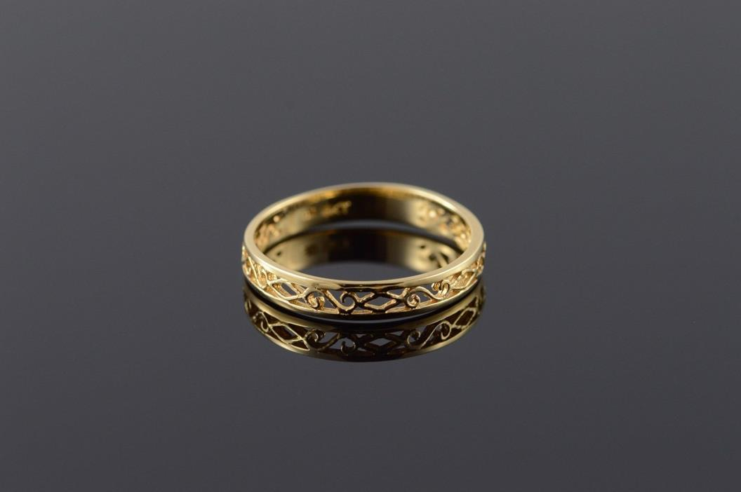 18K 3.5mm Fancy Filigree Cut Out Wedding Band Ring Size 8 Yellow Gold