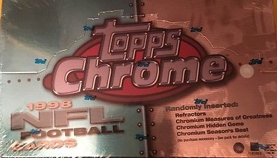 Sealed 1998 TOPPS CHROME Football Card Hobby Box, 24 packs, Peyton Manning RC