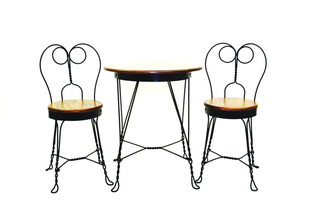 Antique Reproduction Ice Cream Parlor Furniture Set. Table and 2 Chairs