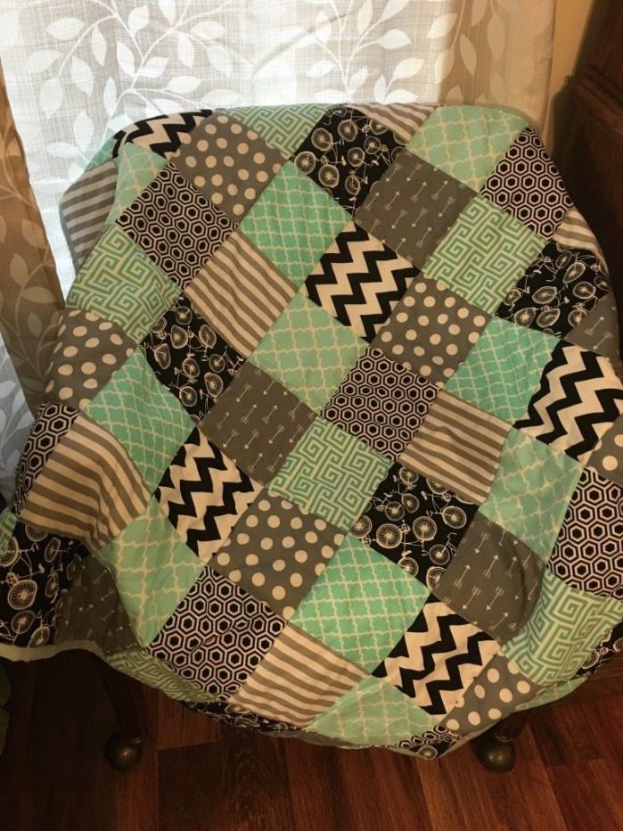 Baby boy crib quilt biking/mint, black, grey + fitted crib sheet