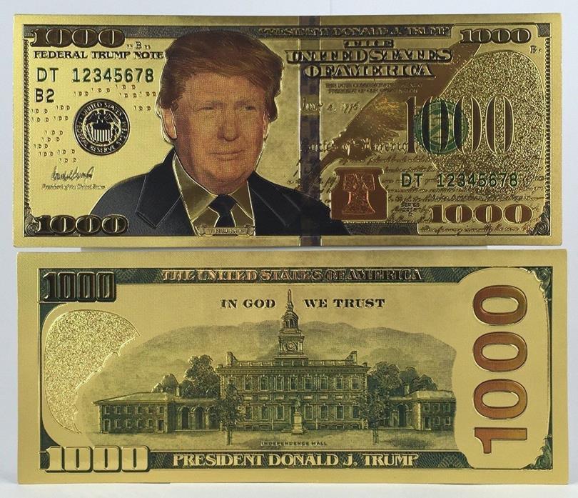 Donald Trump .999 24k Gold USA $100 Dollar Bill