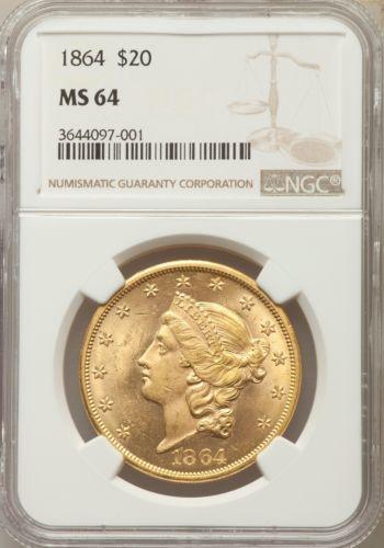 1864 US Gold $20 Liberty Head Double Eagle - NGC MS64