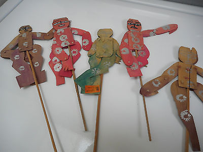5 Dancing Stick Dolls Handmade India Brimful House Vintage Folk Art Collectible