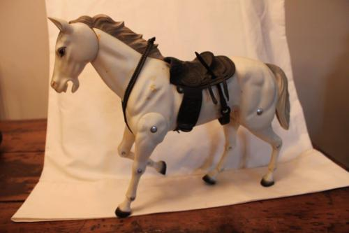 Vintage 1973 Gabriel  Lone Ranger's Horse Silver Multi-Jointed with Saddle