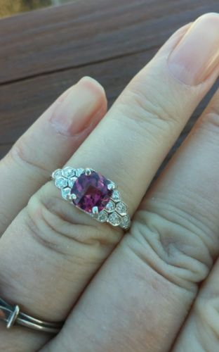 Platinum Diamond Pink Sapphire Wedding Engagement Ring