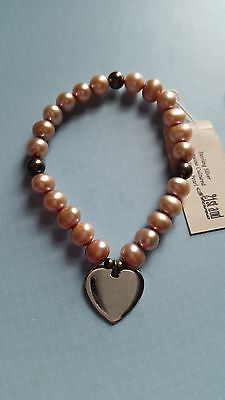 21st and Stone Sterling Silver Heart Genuine Cultured Freshwater Pearl Bracelet
