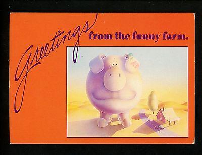 Postcard Greetings from Funny Farm Pig barn chrome