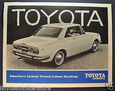 1968 Toyota Corona 2-Door Hardtop Sales Brochure Sheet US Market Original 68