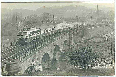 pc7964 postcard Germany Electric Train First in our area RPPC Not used