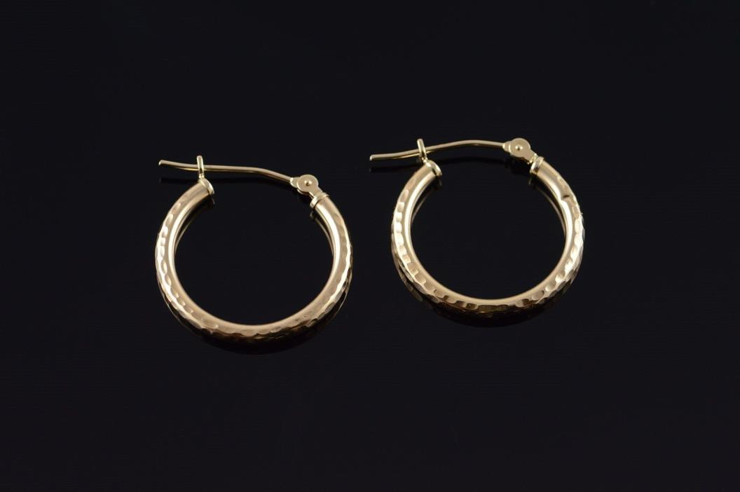 10K Dimpled Hollow Hoop Tube Earrings Yellow Gold