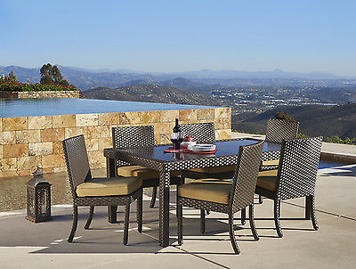 4-Pack Sunbrella Wicker Dining Chairs w/ Seat Cushions Outdoor Patio Furniture
