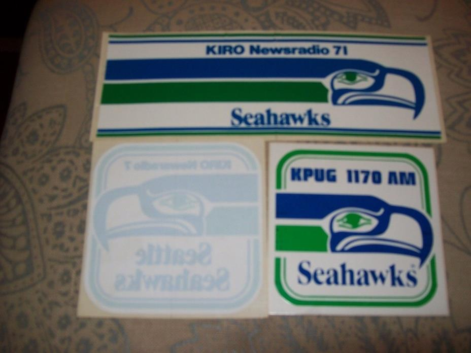 4 vintage Seattle Seahawks stickers 80s