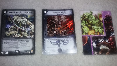 Duel Masters Gamil, Knight of Hatred & Vampire Silphy Cards Plus Puzzle Card