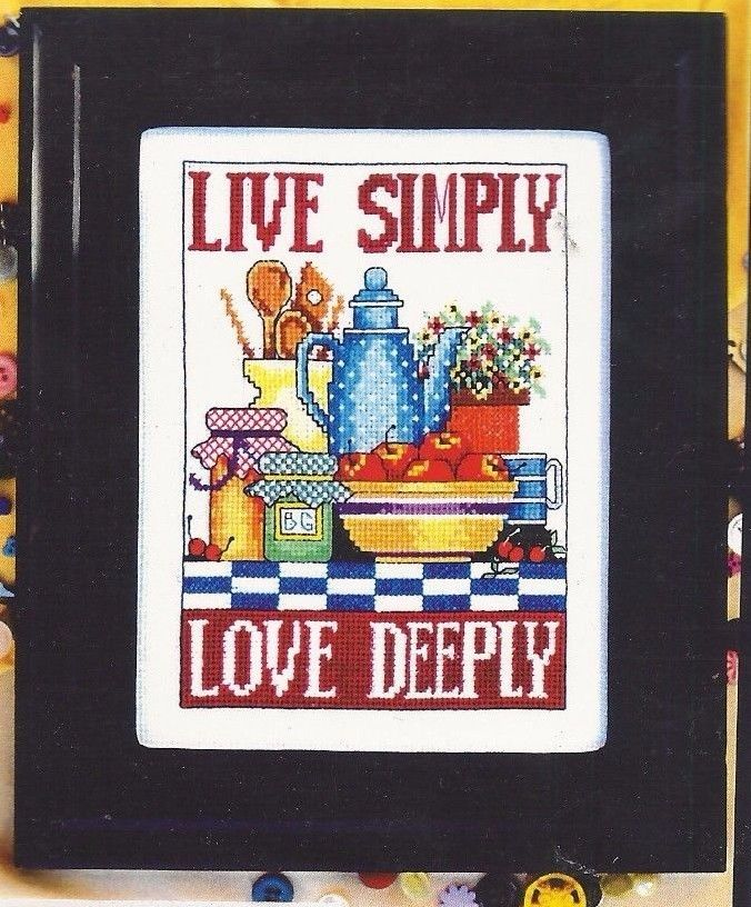 LIVE SIMPLY LOVE DEEPLY--Kitchen--Apples--Flowers--Jam--Counted Cross Stitch KIT