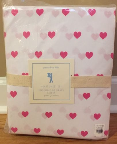 NEW Pottery Barn Kids Organic Heart QUEEN Sheet Set BRIGHT PINK