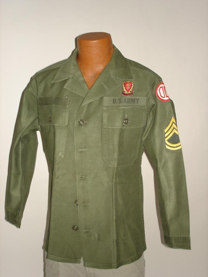 VINTAGE US ARMY MILITARY SATEEN OG 107 GREEN VIETNAM ERA SHIRT SIZE SMALL