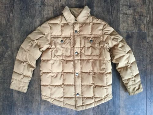 Boys Lands End Quilted Down Jacket Size Large (7) Light Brown Lightweight